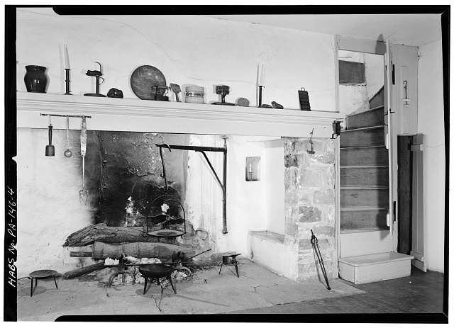 4.  KITCHEN FIREPLACE AND STAIRWAY - Morriseianna, State Route 41 (London Grove Township), Chatham, Chester County, PA