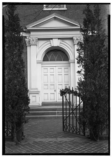 2.  Historic American Buildings Survey, John O. Brostrup, Photographer January 12, 1937 2:20 P.M. DETAIL OF ENTRANCE (WEST ELEVATION). - Lutheran Church of the Holy Trinity, 31 South Duke Street, Lancaster, Lancaster County, PA