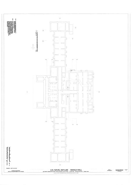 Foundation and Sub-Basement Plan - U. S. Naval Asylum, Biddle Hall, Gray's Ferry Avenue, Philadelphia, Philadelphia County, PA