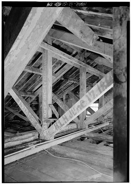 34.  INTERIOR VIEW, FRAMING IN ATTIC OF ENGINE HOUSE - Fairmount Waterworks, East bank of Schuylkill River, Aquarium Drive, Philadelphia, Philadelphia County, PA