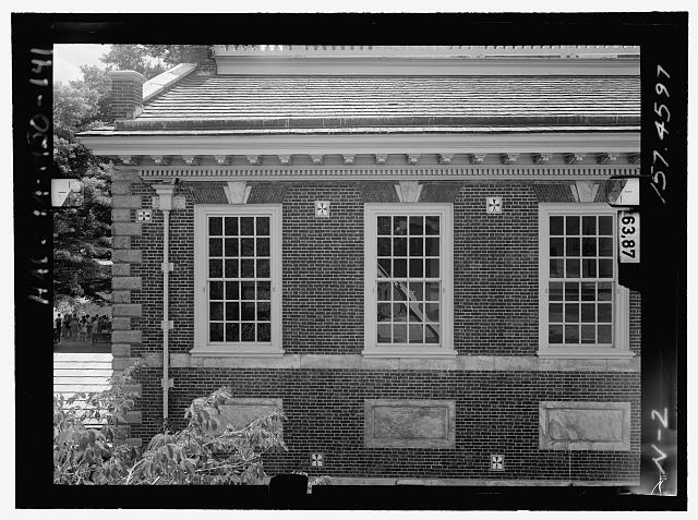 NORTH ELEVATION, MIDDLE EAST. Glass plate stereopair number PA-1430-139 LC-HABS-GS05-N-2 157.4597. Left (printed) - Independence Hall Complex, Independence Hall, 500 Chestnut Street, Philadelphia, Philadelphia County, PA