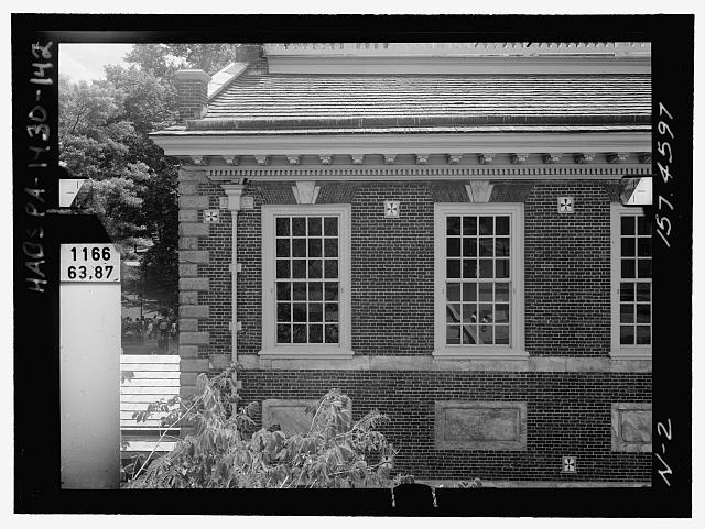 NORTH ELEVATION, MIDDLE EAST. Glass plate stereopair number PA-1430-139 LC-HABS-GS05-N-2 157.4597. Right (not printed) - Independence Hall Complex, Independence Hall, 500 Chestnut Street, Philadelphia, Philadelphia County, PA