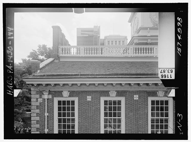 NORTH ELEVATION, UPPER EAST. Glass plate stereopair number PA-1430-139 LC-HABS-GS05-N-3 157.4598. Right (not printed) - Independence Hall Complex, Independence Hall, 500 Chestnut Street, Philadelphia, Philadelphia County, PA