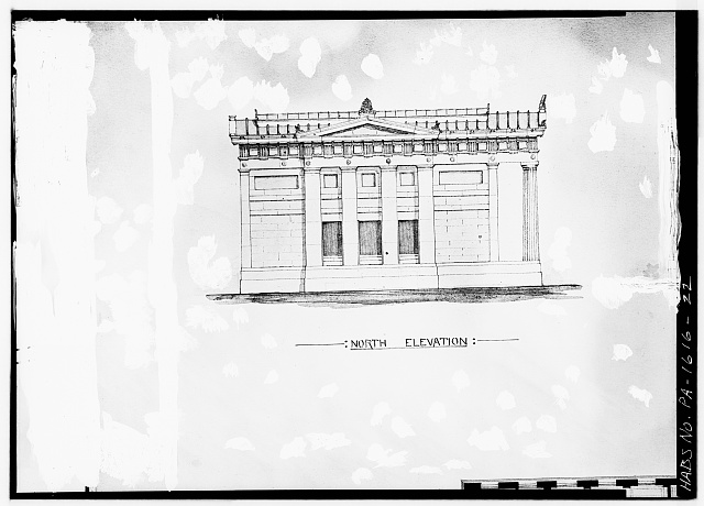 22.  COPY OF ARCHITECT'S DRAWING, NORTH ELEVATION - Library Company of Philadelphia, Ridgway Branch, 900 South Broad Street, Philadelphia, Philadelphia County, PA