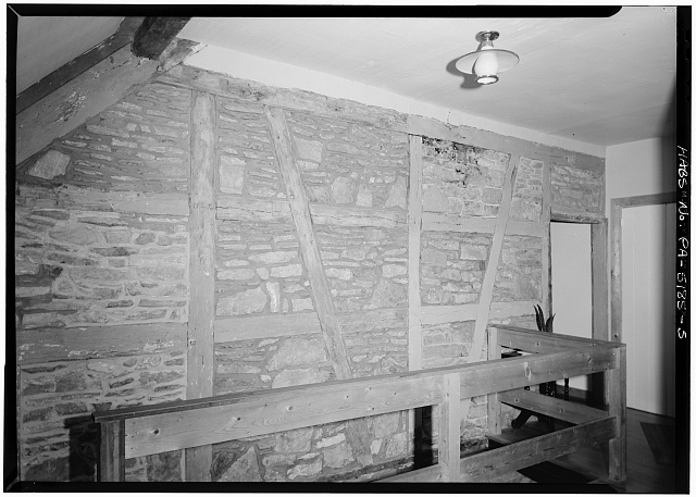 5.  INTERIOR, SECOND FLOOR, HALL, EAST WALL - Martin Schultz House, Emig Street, near Hellam Street, Hallam, York County, PA