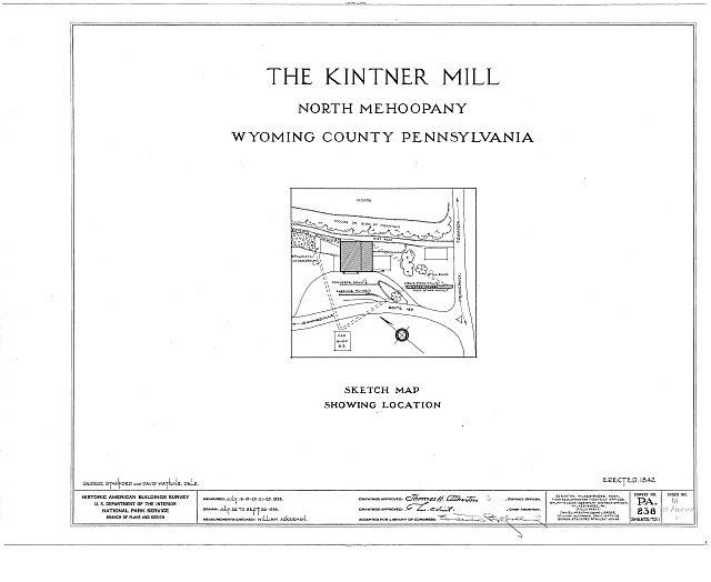 HABS PA,66-MEHOPN,1- (sheet 0 of 11) - Kintner Mill, North Mehoopany, Wyoming County, PA