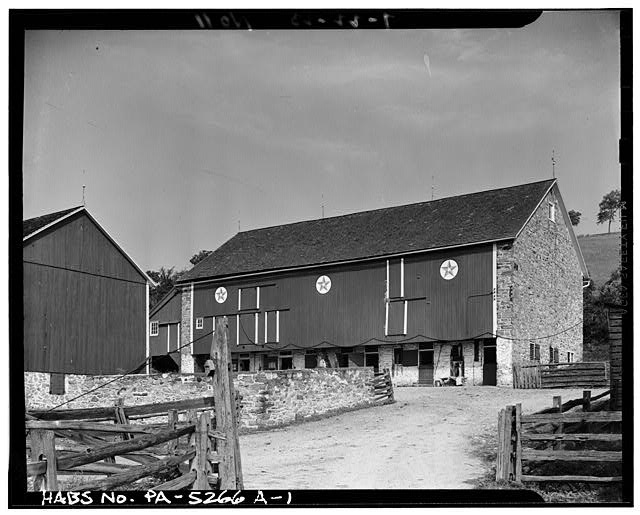1.  GENERAL VIEW. OVERHANG PAINTED RED. - Guy Hoffman Farm, Barn, Oley, Berks County, PA