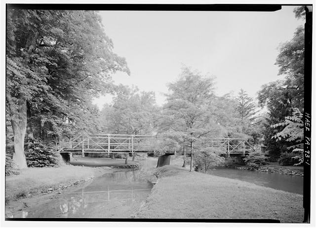 GENERAL VIEW LOOKING EAST SHOWING WEST SIDE OF BRIDGE - Old Mill Road Bridge, Spanning Saucon Creek, Old Mill Road, Hellertown, Northampton County, PA