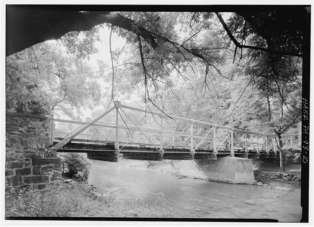PERSPECTIVE VIEW OF EAST-SIDE TRUSS LOOKING NORTHWEST - Old Mill Road Bridge, Spanning Saucon Creek, Old Mill Road, Hellertown, Northampton County, PA
