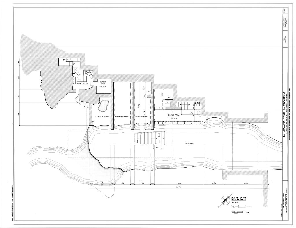 Falling Water Plan Basement plan - fallingwaterFalling Water Blueprints