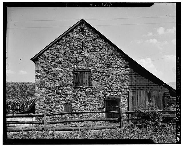 2.  SIDE ELEVATION AND WOOD ADDITION. NOTE VENTILATION OPENINGS ON SIDE ELEVATION. - Stone Barn, Pleasant Valley, Berks County, PA