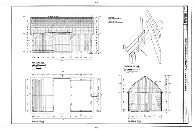 HABS PA,1-GET.V,13B- (sheet 1 of 2) - Eisenhower Farm Two, Breeding & Equipment Shed, Emmitsburg Road (U.S. 15), Gettysburg, Adams County, PA