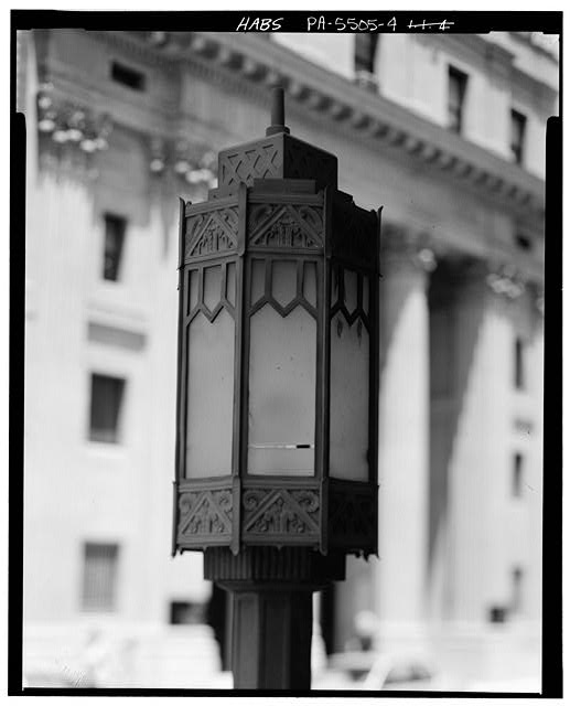 4.  DETAIL OF LAMP ON SOUTHWEST SIDE OF SOUTHWEST ENTRANCE ON NORTHWEST FRONT - U.S. Post Office, 1201 Eleventh Avenue, Altoona, Blair County, PA