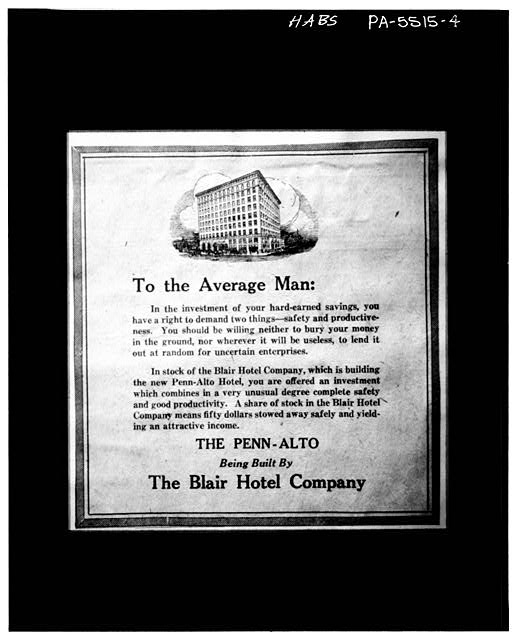 4.  photocopy of an advertisement (from Penn Alto Hotel archives, Altoona, Pennsylvania) ADVERTISEMENT TO SELL STOCK IN PENN ALTO HOTEL - Penn Alto Hotel, 1120-1130 Thirteenth Avenue, Altoona, Blair County, PA