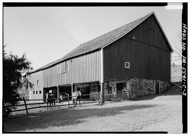 3.  PERSPECTIVE VIEW OF SOUTHEAST (FRONT) AND NORTHEAST SIDE - High Farm, Barn, Creek Road, 1 mile East of Easton Road, Pipersville, Bucks County, PA
