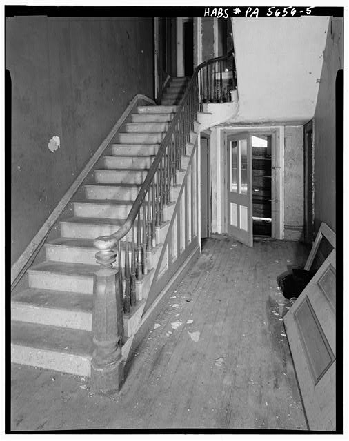5.  FIRST FLOOR, STAIR HALL, LOOKING NORTHWEST AND STAIRS - Christian S. Overholt Store & House, Frick Avenue, West Overton, Westmoreland County, PA