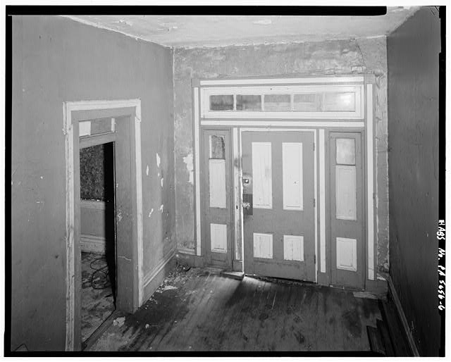 6.  FIRST FLOOR, STAIR HALL, LOOKING SOUTHEAST AT FRONT DOOR - Christian S. Overholt Store & House, Frick Avenue, West Overton, Westmoreland County, PA