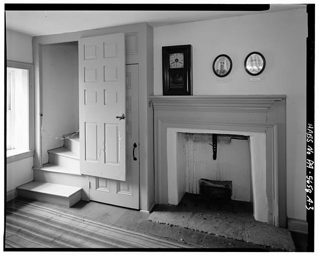 3.  INTERIOR, STAIRWAY AND FIREPLACE - Abraham Overholt House, Springhouse, Frick Avenue, West Overton, Westmoreland County, PA