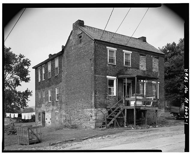 1.  SOUTHWEST SIDE AND SOUTHEAST FRONT - Overholt Company Workers House D, Frick Avenue, West Overton, Westmoreland County, PA