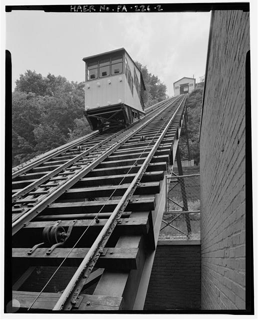 2.  VIEW SOUTH, INCLINE PLANE CAR, INCLINE PLANE TRACK, UPPER STATION. - Monongahela Incline Plane, Connecting North side of Grandview Avenue at Wyoming Street with West Carson Street near Smithfield Street, Pittsburgh, Allegheny County, PA