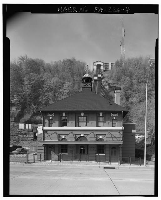 4.  VIEW SOUTHWEST, LOWER STATION FRONT, INCLINE PLANE TRACK, UPPER STATION. - Monongahela Incline Plane, Connecting North side of Grandview Avenue at Wyoming Street with West Carson Street near Smithfield Street, Pittsburgh, Allegheny County, PA