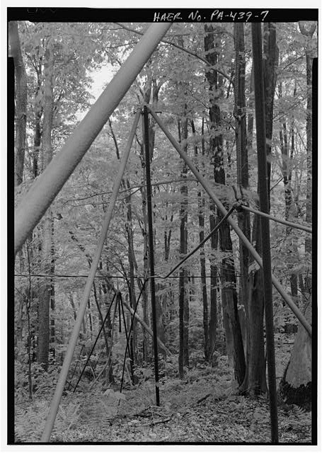 VIEW NORTH, ROD LINES AND TRIPODS TO PUMPJACK. - South Penn Oil Company, Lockwood Warrant 2921 Lease, Wardwell Field, Warren, Warren County, PA