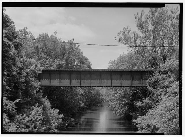 View of span over French Creek, looking Northnorthwest. - Pennsylvania Railroad, French Creek Trestle, Spanning French Creek, north of Paradise Street, Phoenixville, Chester County, PA