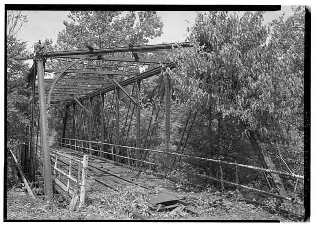 Perspective, looking north. - Phoenix Iron Company, French Creek Bridge, Spanning French Creek between Gay Street & Main Street, Phoenixville, Chester County, PA