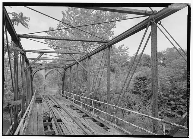 Interior of truss, looking north. - Phoenix Iron Company, French Creek Bridge, Spanning French Creek between Gay Street & Main Street, Phoenixville, Chester County, PA