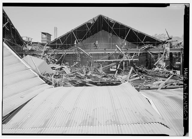 Detail of demolition in one of middle bays of rolling mill. - Phoenix Iron Company, Rolling Mill, North of French Creek, west of Fairview Avenue, Phoenixville, Chester County, PA