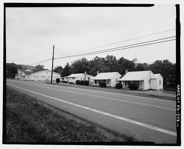 Looking NW from highway. - DeShong's Cabins-Oil and Gas, Saluvia, Fulton County, PA