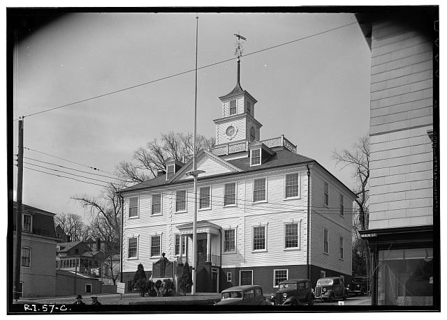 4.  Historic American Buildings Survey, Stanley P. Mixon, Photographer, March 29, 1940 EXTERIOR, GENERAL VIEW OF EAST AND NORTH SIDES. - Kent County Courthouse, Main Street (Post Road), East Greenwich, Kent County, RI