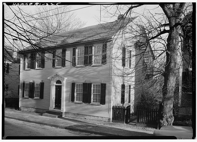 1.  Historic American Buildings Survey, Laurence E. Tilley, Photographer May, 1958 NORTH (FRONT) AND WEST ELEVATIONS. - William L. Brown House, 23 John Street, Providence, Providence County, RI