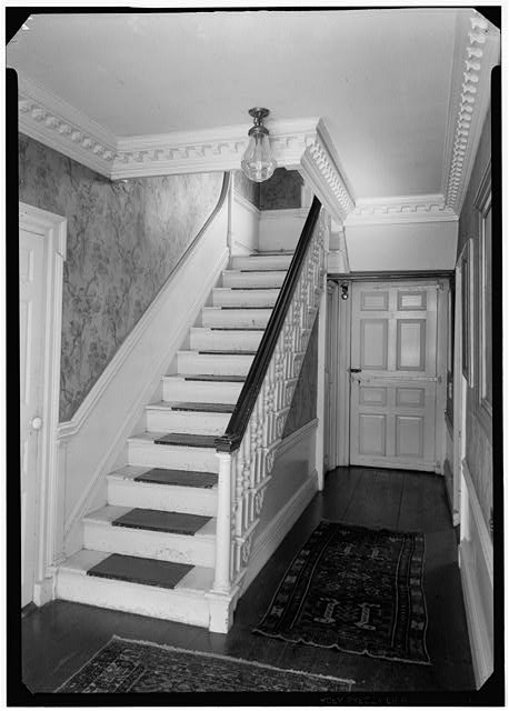 3.  Historic American Buildings Survey, Arthur W. LeBoeuf, Photographer, 1937 FRONT STAIRS TO SECOND STORY, LOOKING TOWARD REAR. - Seril Dodge House, 10 Thomas Street, Providence, Providence County, RI