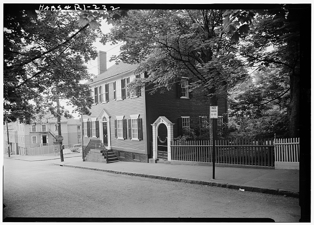 1.  Historic American Buildings Survey, Laurence E. Tilley, Photographer May, 1958 NORTH (FRONT) AND WEST ELEVATIONS. - Cyrus Ellis House, 31 John Street, Providence, Providence County, RI