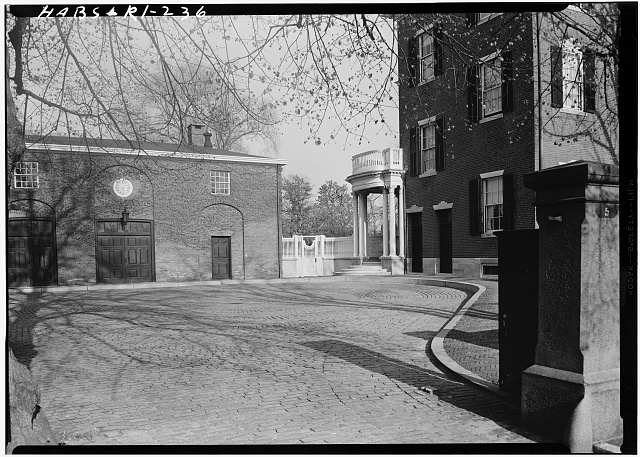 3.  Historic American Buildings Survey, Laurence E. Tilley, Photographer May, 1958 WEST ELEVATION OF SOUTH LEG. - Thomas P. Ives Stable & Coach House, 66 Power Street, Providence, Providence County, RI