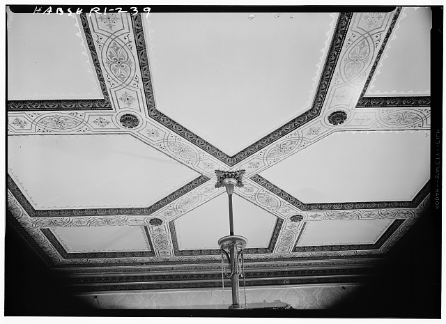 15.  Historic American Buildings Survey, Laurence E. Tilley, Photographer April, 1958 SOUTHWEST PARLOR CEILING. - Governor Henry Lippitt House, 199 Hope Street, Providence, Providence County, RI