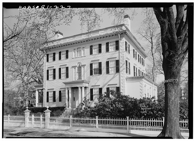 1.  Historic American Buildings Survey, Laurence E. Tilley, Photographer April, 1958 SOUTH (FRONT) AND EAST ELEVATIONS. - Dr. S. B. Tobey House, 110 Benevolent Street, Providence, Providence County, RI