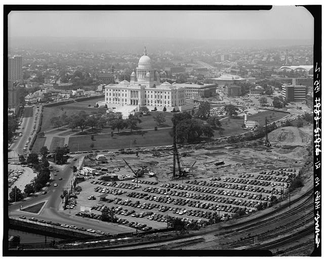 2.  ELEVATED VIEW FROM SOUTHEAST INCLUDING STATE HOUSE GROUNDS - Rhode Island State House, 90 Smith Street, Providence, Providence County, RI