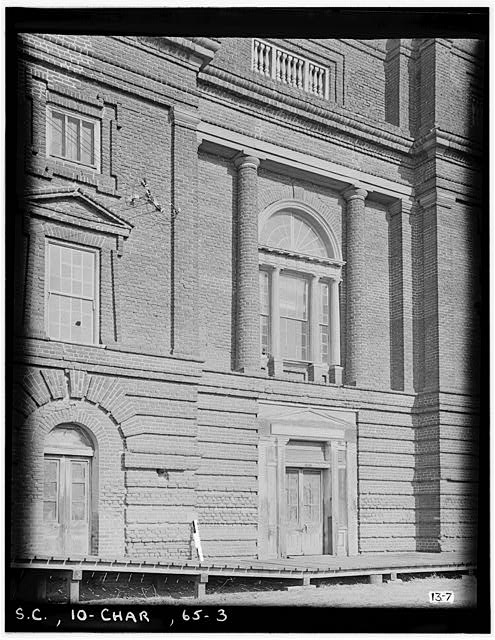 3.  Historic American Buildings Survey, M.B. Paine, Photographer April, 1934 ENTRANCE DETAIL, WEST ELEVATION. - Bennett's Rice Mill, Between East Bay, Hasell, Concord & Laurens Streets, Charleston, Charleston County, SC