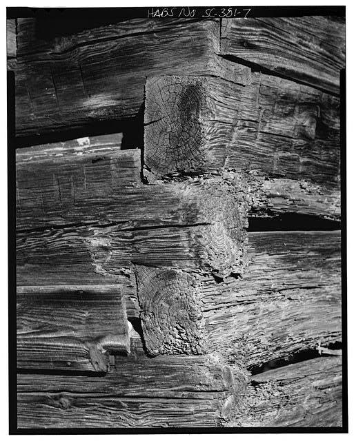 7.  Southwest corner, detail of notching, perspective - Featherstone Tenant Farm, County Road 81, Lowndesville, Abbeville County, SC
