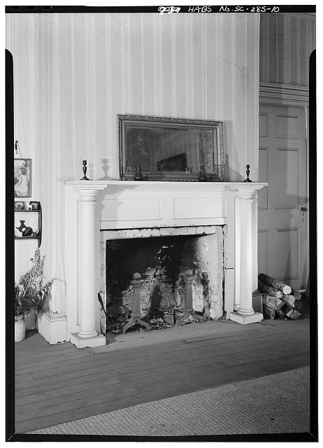 10.  INTERIOR, FIRST FLOOR, FRONT PARLOR, DETAIL OF FIREPLACE - Woodburn, Woodburn Road, U.S. Route 76 vicinity, Pendleton, Anderson County, SC
