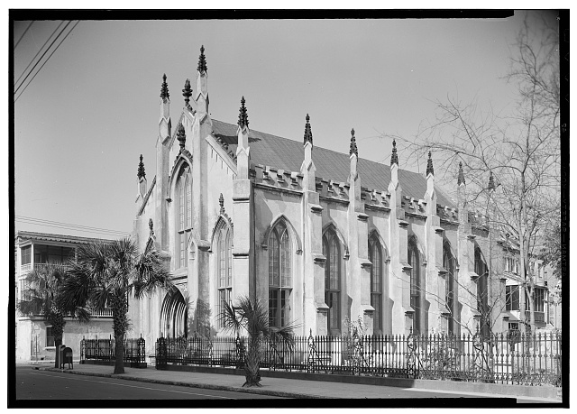 1.  Historic American Buildings Survey, C.O. Greene, Photographer April, 1940 SOUTHWEST ELEVATION. - French Protestant Huguenot Church, 136 Church Street, Charleston, Charleston County, SC