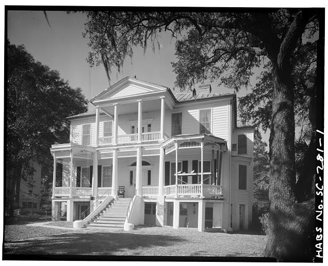1.  GENERAL VIEW; SOUTH (FRONT) ELEVATION. One-story porches are not original - John Cuthbert House, 1203 Bay Street, Beaufort, Beaufort County, SC