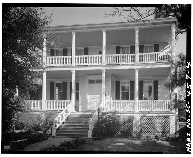 4.  DETAIL VIEW OF FRONT PORTICOES, SOUTH ELEVATION - Louis Cuthbert House, 915 Port Republic Street, Beaufort, Beaufort County, SC