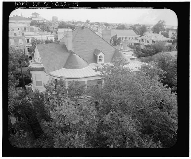 19.  PHOTOGRAMMETRIC IMAGE: AERIAL VIEW SOUTHWEST CORNER - Carrington-Carr House, 2 Meeting Street, Charleston, Charleston County, SC