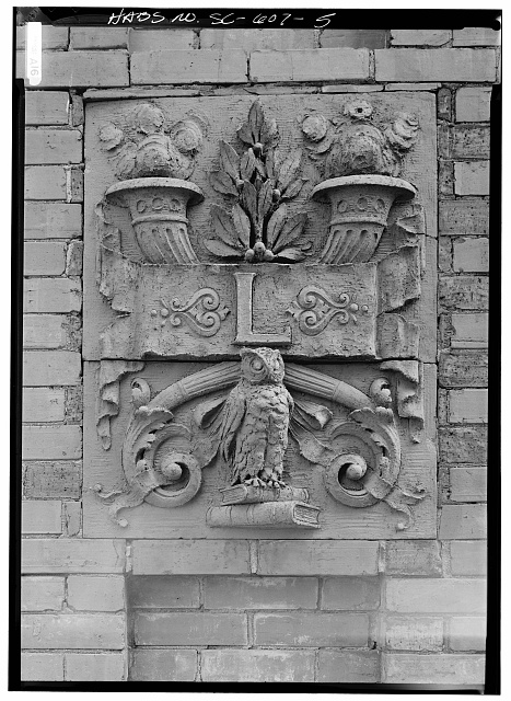 5.  WEST FRONT CHIMNEY CREST, CARTOUCHE - Claflin College, Lee Library, College Avenue, Orangeburg, Orangeburg County, SC