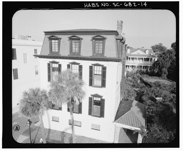 14.  PHOTOGRAMMETRIC IMAGE: AERIAL VIEW EAST ELEVATION - Nathaniel Ingrahm House, 2 Water Street, Charleston, Charleston County, SC