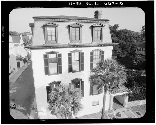 15.  PHOTOGRAMMETRIC IMAGE: AERIAL VIEW EAST ELEVATION - Nathaniel Ingrahm House, 2 Water Street, Charleston, Charleston County, SC