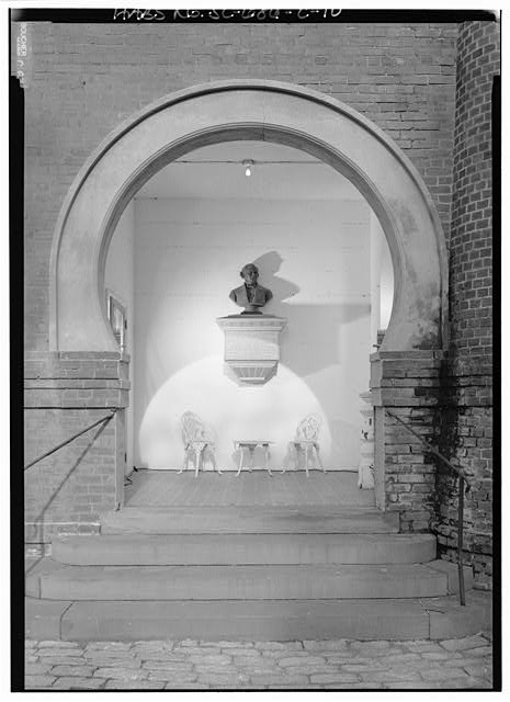10.  VIEW OF SOUTHWEST ENTRANCE WITH BUST OF ENSTON - William Enston Home, Memorial Hall, 900 King Street, Charleston, Charleston County, SC